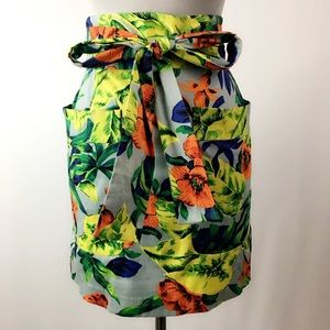 French Connection Floral Tie Waist Mini Skirt